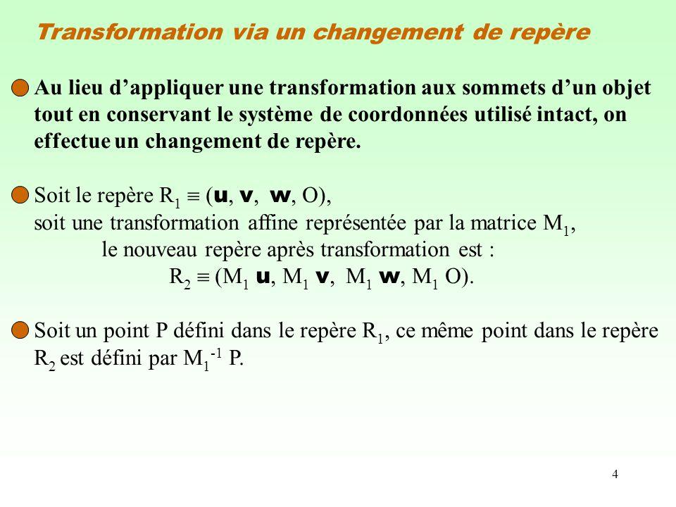 4 Transformation via un changement de repère Au lieu dappliquer une transformation aux sommets dun objet tout en conservant le système de coordonnées utilisé intact, on effectue un changement de repère.
