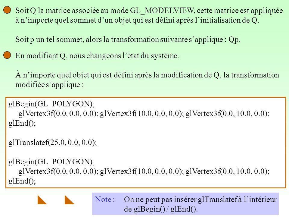 6 Soit Q la matrice associée au mode GL_MODELVIEW, cette matrice est appliquée à nimporte quel sommet dun objet qui est défini après linitialisation de Q.