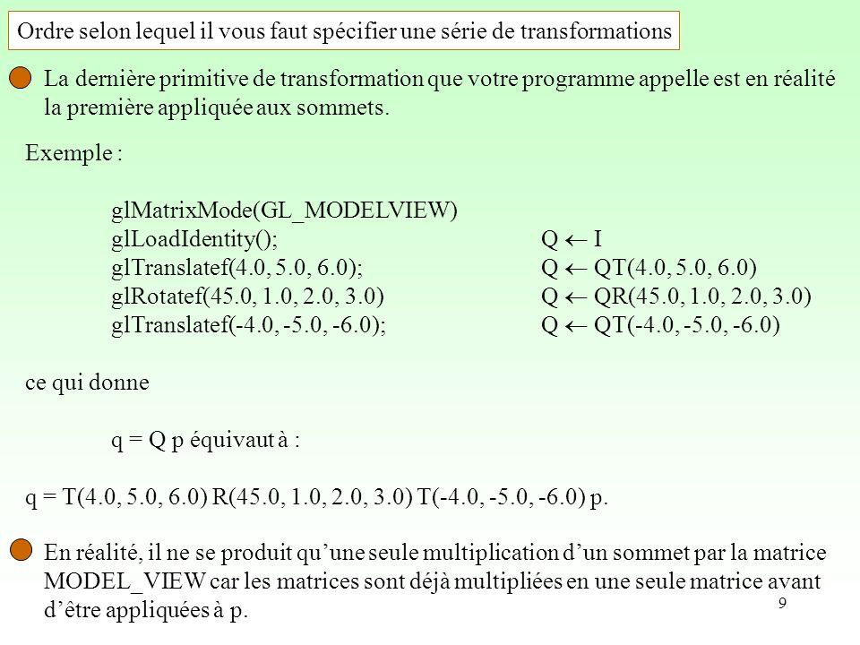 9 Exemple : glMatrixMode(GL_MODELVIEW) glLoadIdentity();Q I glTranslatef(4.0, 5.0, 6.0);Q QT(4.0, 5.0, 6.0) glRotatef(45.0, 1.0, 2.0, 3.0)Q QR(45.0, 1.0, 2.0, 3.0) glTranslatef(-4.0, -5.0, -6.0);Q QT(-4.0, -5.0, -6.0) ce qui donne q = Q p équivaut à : q = T(4.0, 5.0, 6.0) R(45.0, 1.0, 2.0, 3.0) T(-4.0, -5.0, -6.0) p.