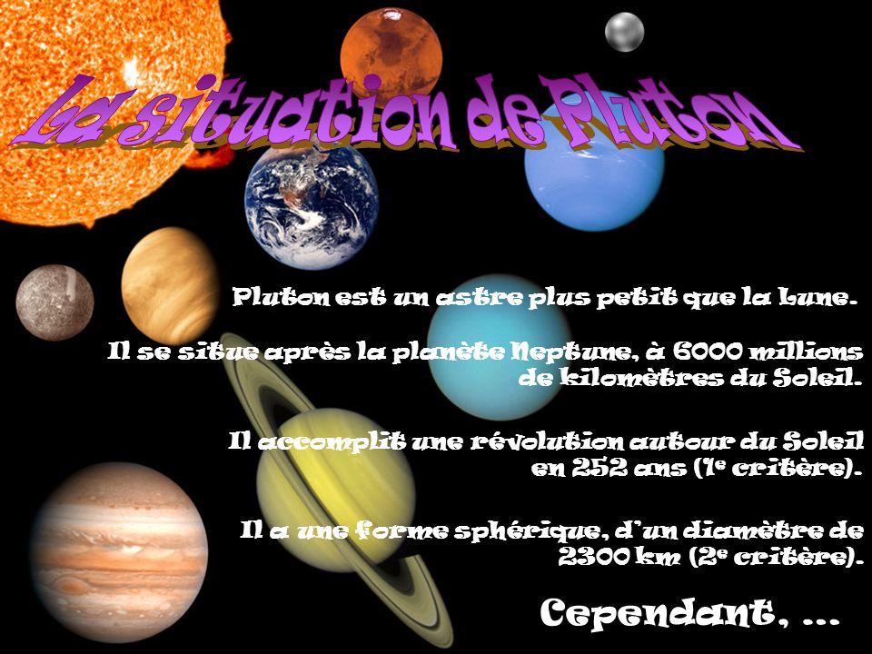 Pluton est un astre plus petit que la Lune. Il se situe après la planète Neptune, à 6000 millions de kilomètres du Soleil. Il accomplit une révolution