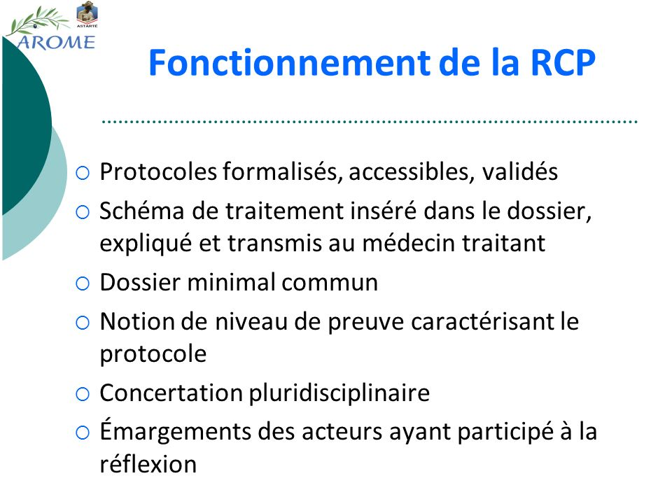 Fonctionnement de la RCP Protocoles formalisés, accessibles, validés Schéma de traitement inséré dans le dossier, expliqué et transmis au médecin trai