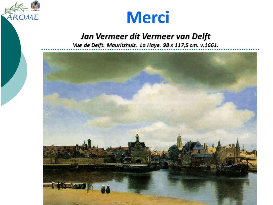 Jan Vermeer dit Vermeer van Delft Vue de Delft. Mauritshuis. La Haye. 98 x 117,5 cm. v.1661. Merci