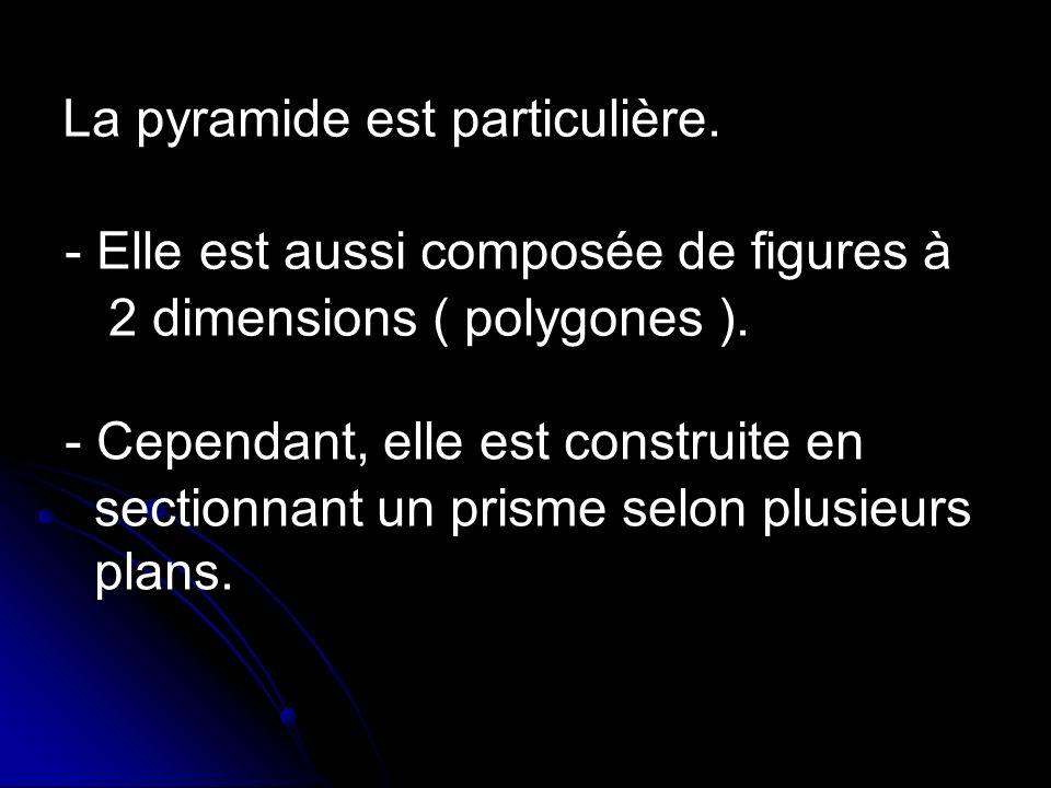 La pyramide est particulière.- Elle est aussi composée de figures à 2 dimensions ( polygones ).