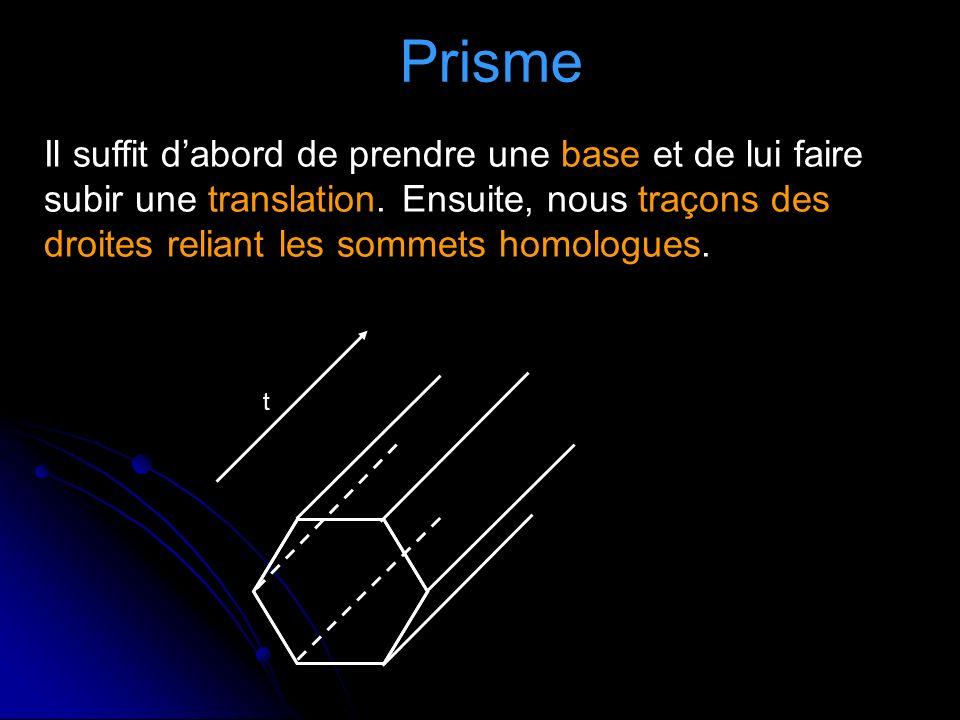 Prisme Il suffit dabord de prendre une base et de lui faire subir une translation.