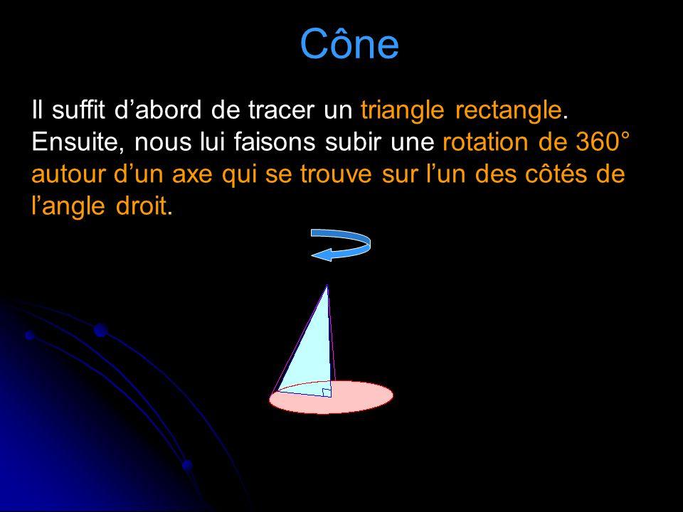 Cône Il suffit dabord de tracer un triangle rectangle.