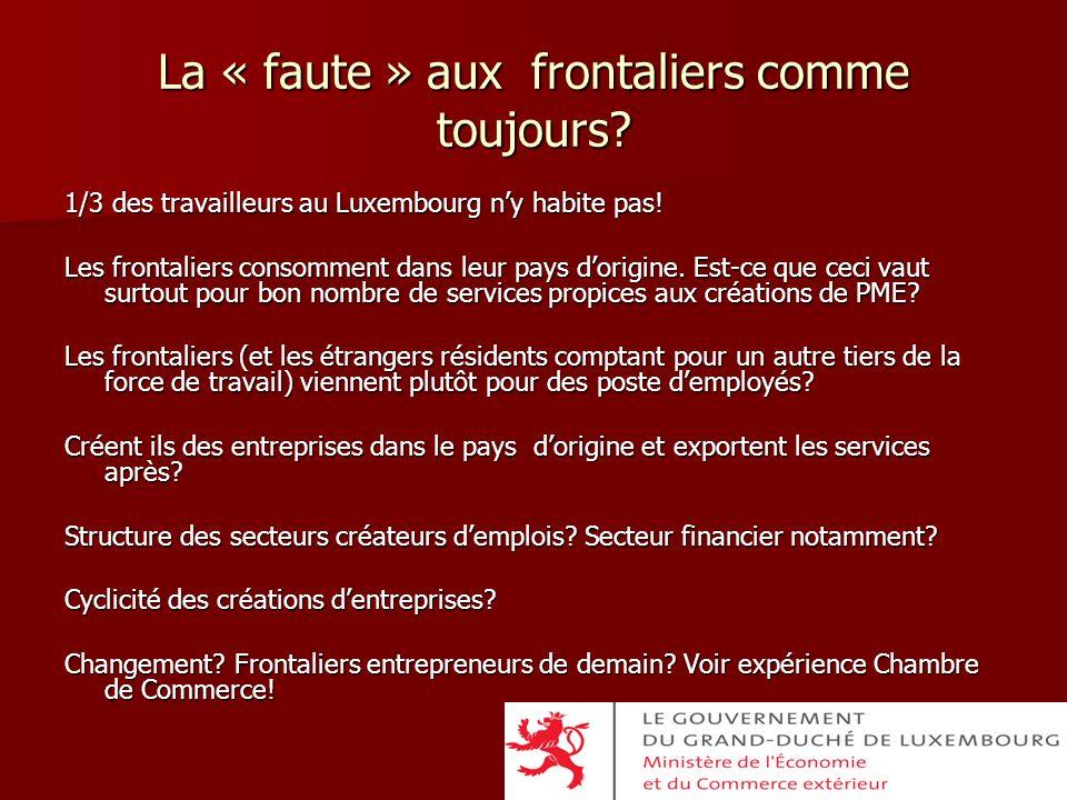 La « faute » aux frontaliers comme toujours? 1/3 des travailleurs au Luxembourg ny habite pas! Les frontaliers consomment dans leur pays dorigine. Est