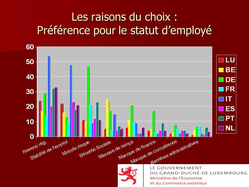 Les raisons du choix : Préférence pour le statut demployé