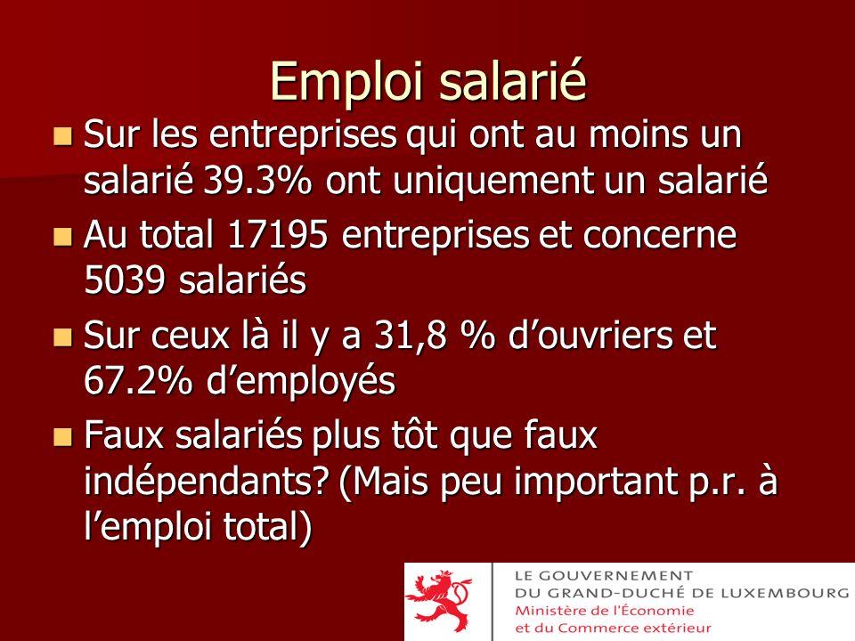 Emploi salarié Sur les entreprises qui ont au moins un salarié 39.3% ont uniquement un salarié Sur les entreprises qui ont au moins un salarié 39.3% o