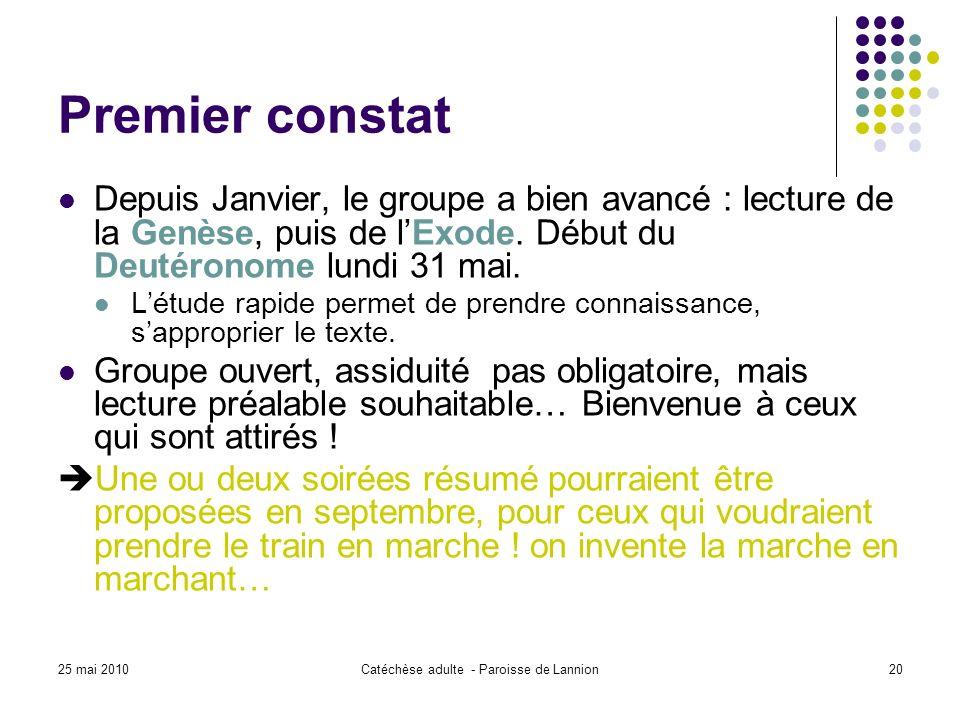 25 mai 2010Catéchèse adulte - Paroisse de Lannion20 Premier constat Depuis Janvier, le groupe a bien avancé : lecture de la Genèse, puis de lExode.