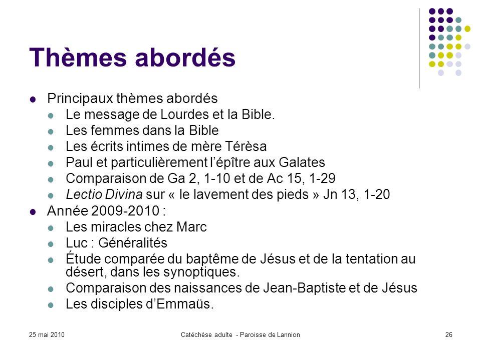 25 mai 2010Catéchèse adulte - Paroisse de Lannion26 Thèmes abordés Principaux thèmes abordés Le message de Lourdes et la Bible.