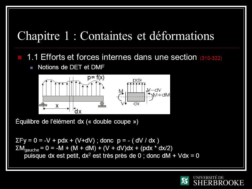 Chapitre 1 : Containtes et déformations 1.1 Efforts et forces internes dans une section (310-322) Notions de DET et DMF Équilibre de lélément dx (« double coupe ») ΣFy = 0 = -V + pdx + (V+dV) ; donc p = - ( dV / dx ) ΣM gauche = 0 = -M + (M + dM) + (V + dV)dx + (pdx * dx/2) puisque dx est petit, dx 2 est très près de 0 ; donc dM + Vdx = 0