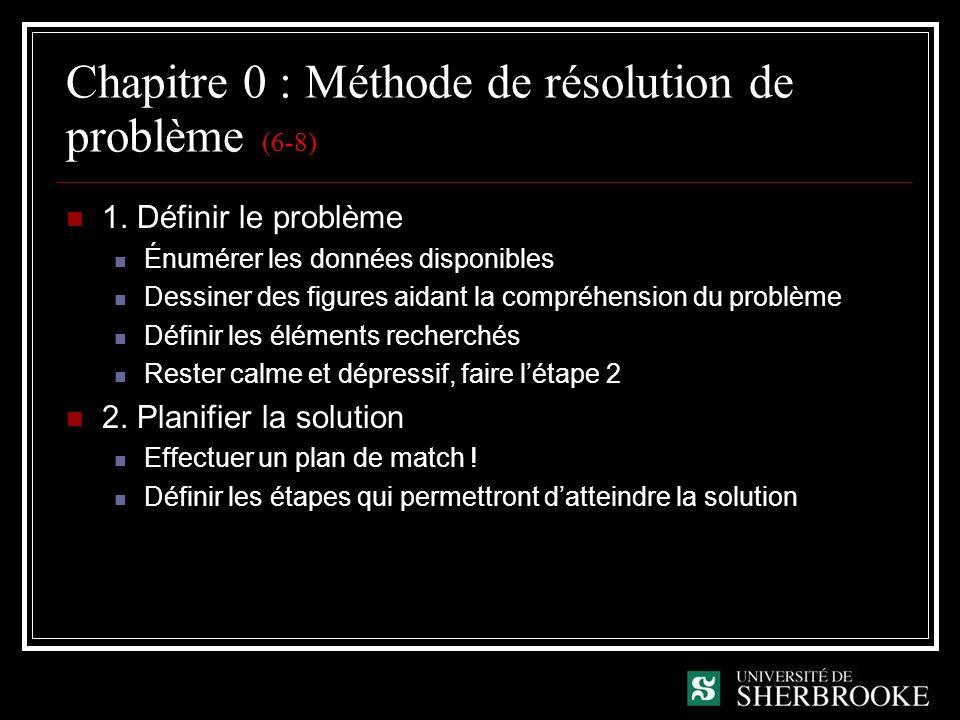 Chapitre 0 : Méthode de résolution de problème (6-8) 1. Définir le problème Énumérer les données disponibles Dessiner des figures aidant la compréhens