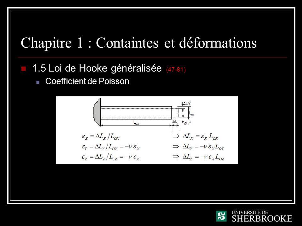 Chapitre 1 : Containtes et déformations 1.5 Loi de Hooke généralisée (47-81) Coefficient de Poisson