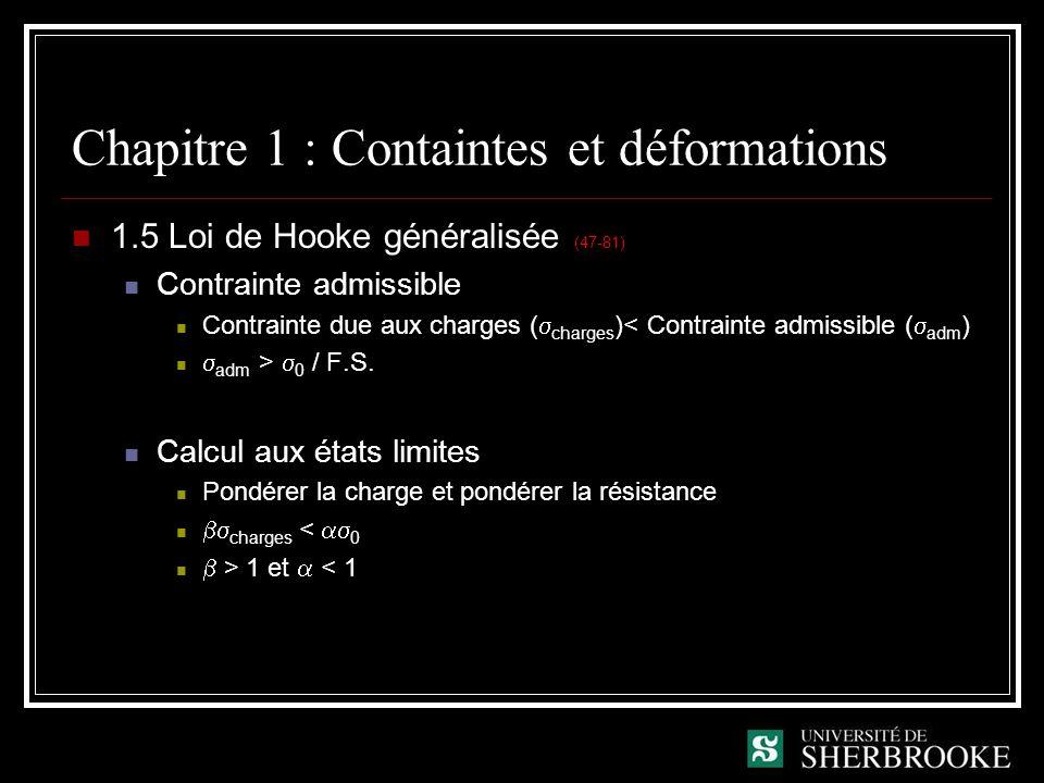 Chapitre 1 : Containtes et déformations 1.5 Loi de Hooke généralisée (47-81) Contrainte admissible Contrainte due aux charges ( charges )< Contrainte admissible ( adm ) adm > 0 / F.S.
