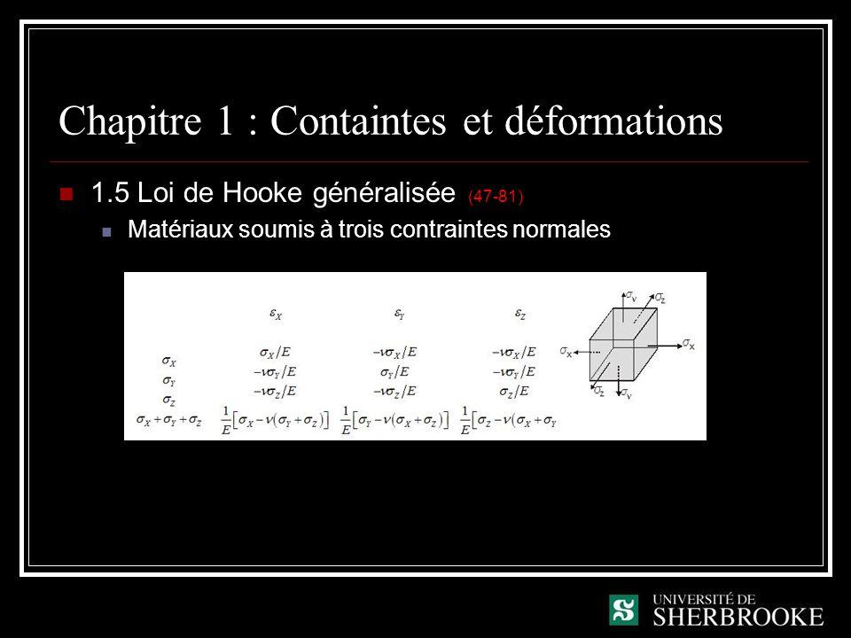 Chapitre 1 : Containtes et déformations 1.5 Loi de Hooke généralisée (47-81) Matériaux soumis à trois contraintes normales