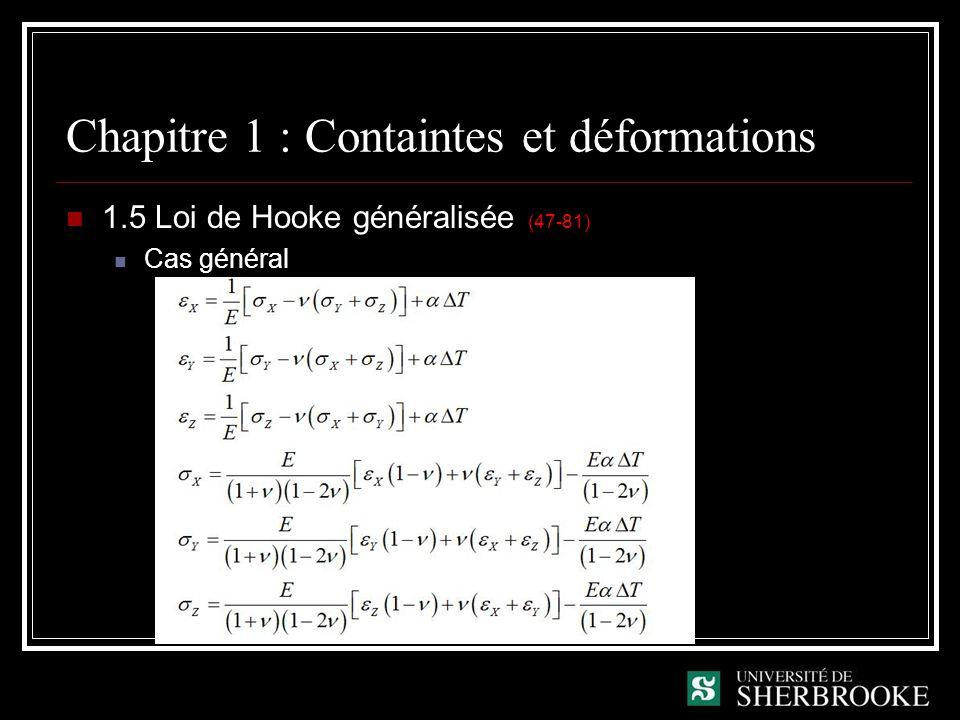 Chapitre 1 : Containtes et déformations 1.5 Loi de Hooke généralisée (47-81) Cas général