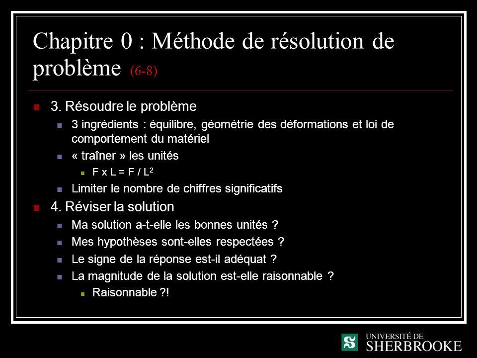 Chapitre 0 : Méthode de résolution de problème (6-8) 3. Résoudre le problème 3 ingrédients : équilibre, géométrie des déformations et loi de comportem