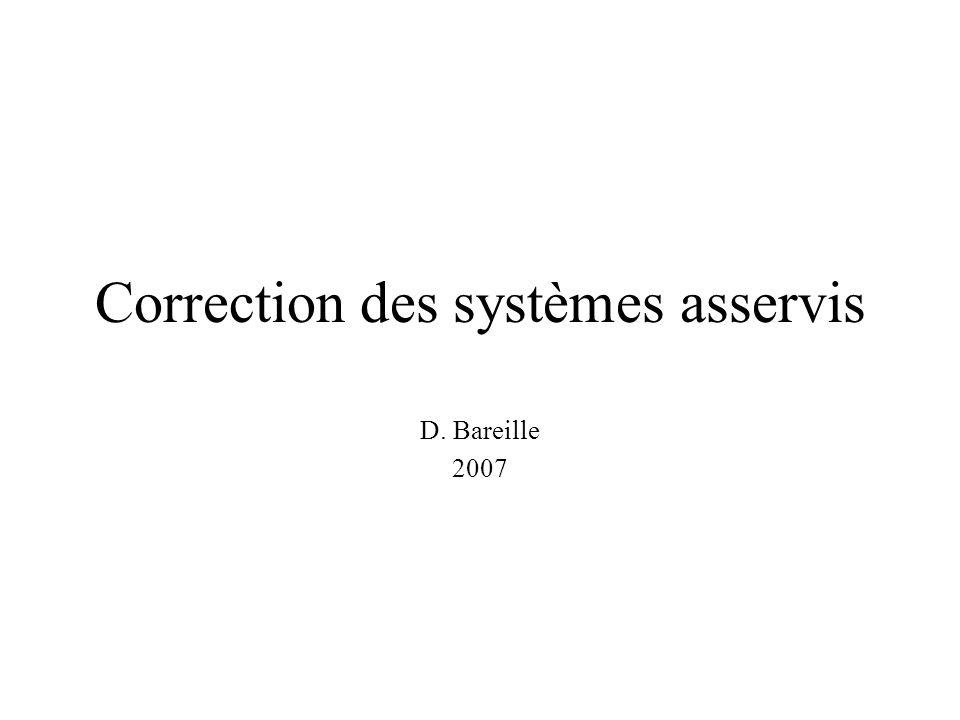 Correction des systèmes asservis D. Bareille 2007