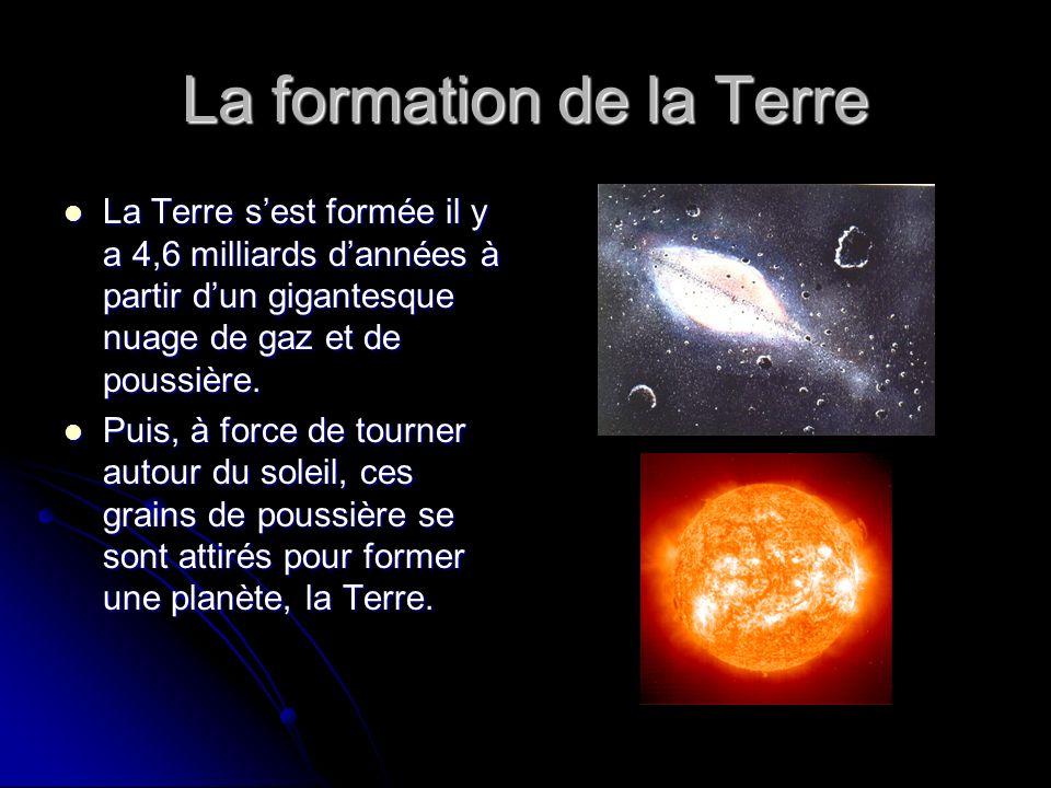 La formation de la Terre La Terre sest formée il y a 4,6 milliards dannées à partir dun gigantesque nuage de gaz et de poussière. La Terre sest formée