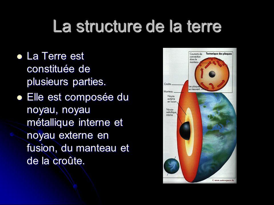 La structure de la terre La Terre est constituée de plusieurs parties. La Terre est constituée de plusieurs parties. Elle est composée du noyau, noyau