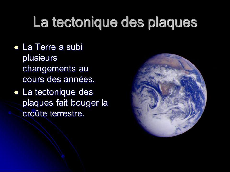 La tectonique des plaques La Terre a subi plusieurs changements au cours des années. La Terre a subi plusieurs changements au cours des années. La tec