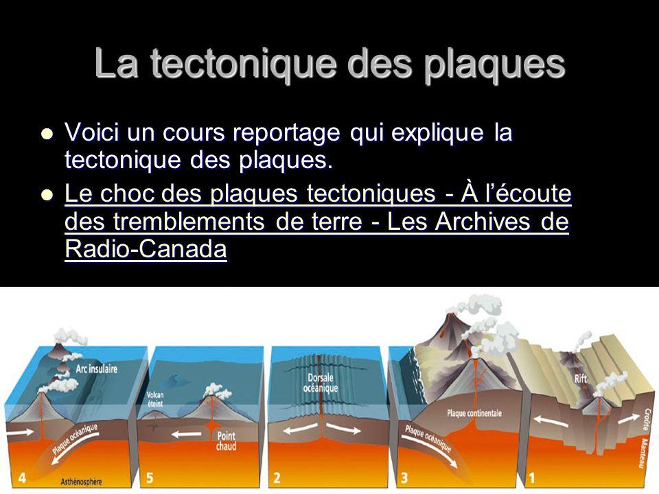 La tectonique des plaques Voici un cours reportage qui explique la tectonique des plaques. Voici un cours reportage qui explique la tectonique des pla