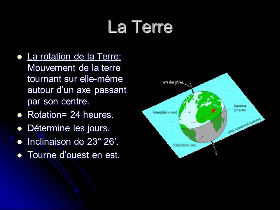 La Terre La rotation de la Terre: Mouvement de la terre tournant sur elle-même autour dun axe passant par son centre. La rotation de la Terre: Mouveme