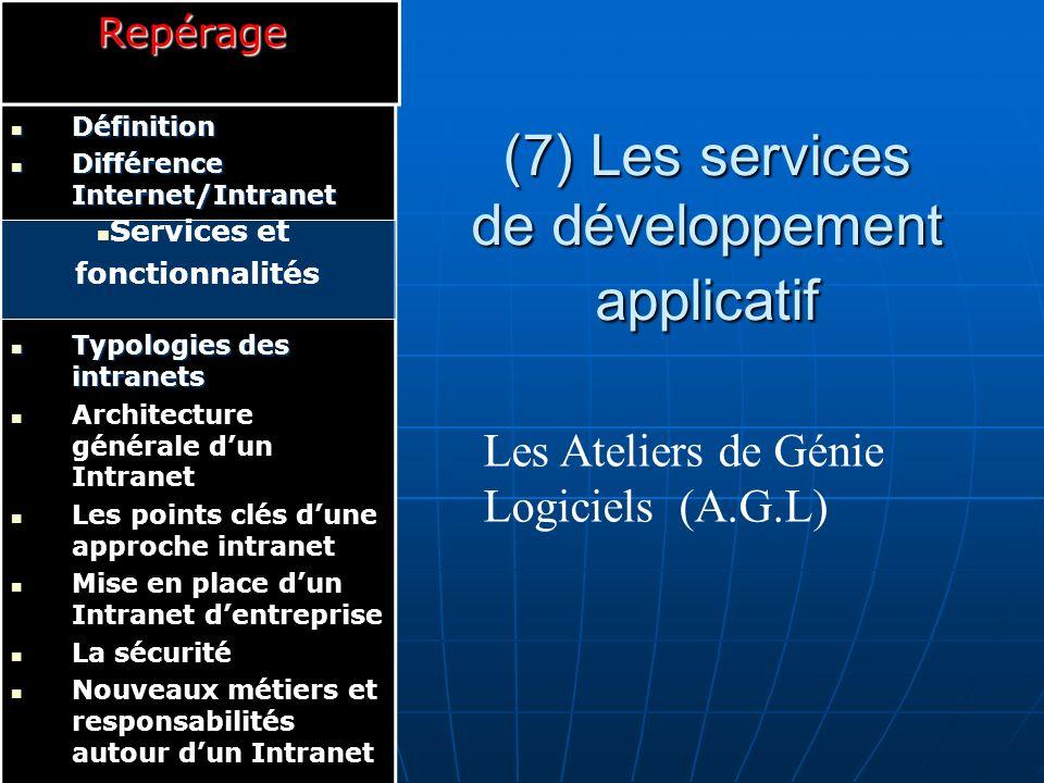B.D Serveur Web HTTP Applications de production de lentreprise Messagerie SMTP Serveur de fichiers FTP Logiciel Client Universel Réf : [ALIN.1998] (8) Les services d accès aux informations et aux applicatifs :