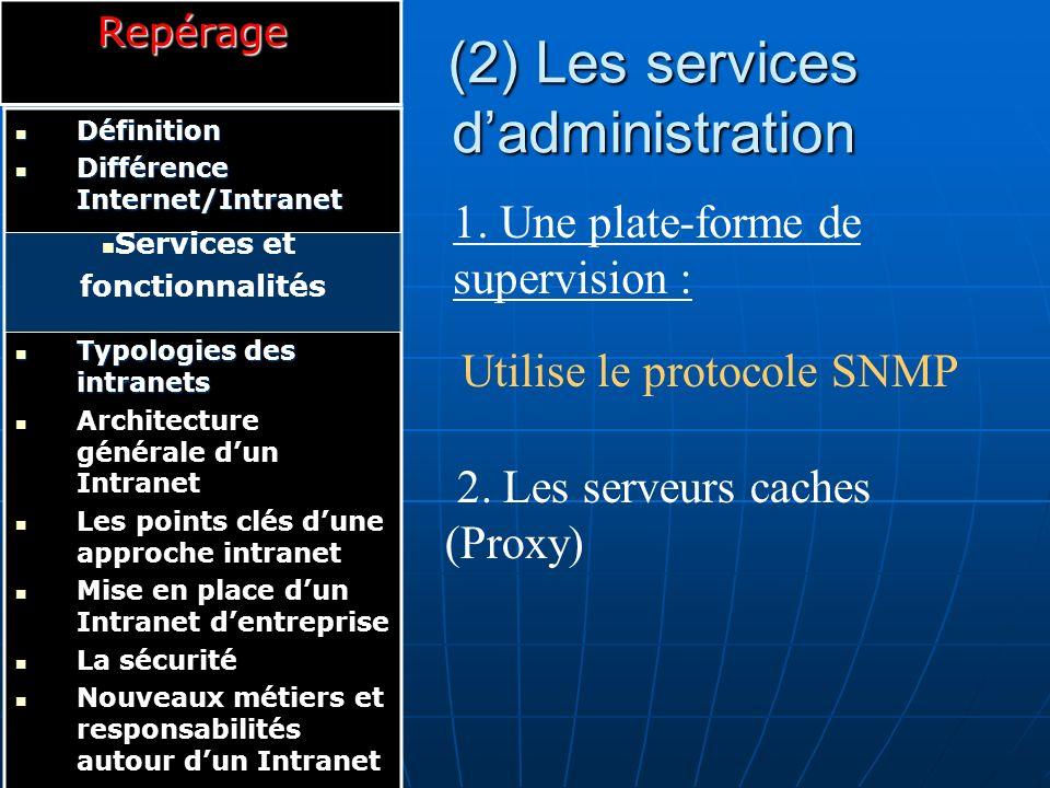 (3) Les services de sécurité 1.L authentification : 2.