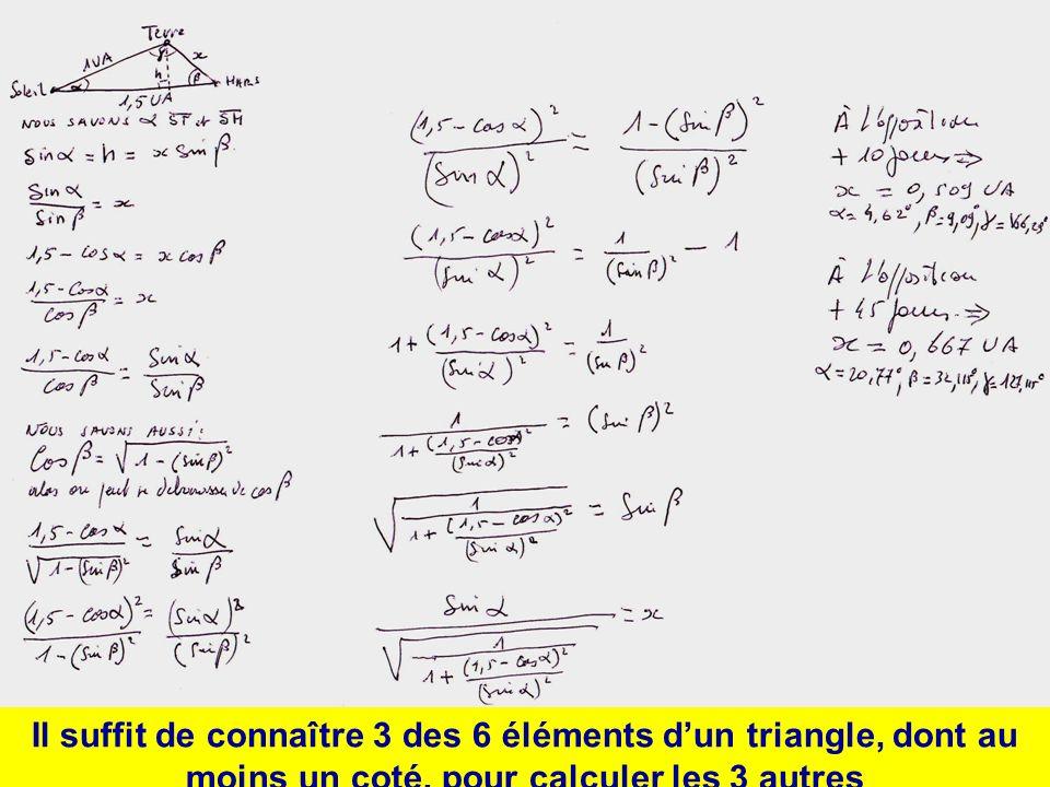 Il suffit de connaître 3 des 6 éléments dun triangle, dont au moins un coté, pour calculer les 3 autres