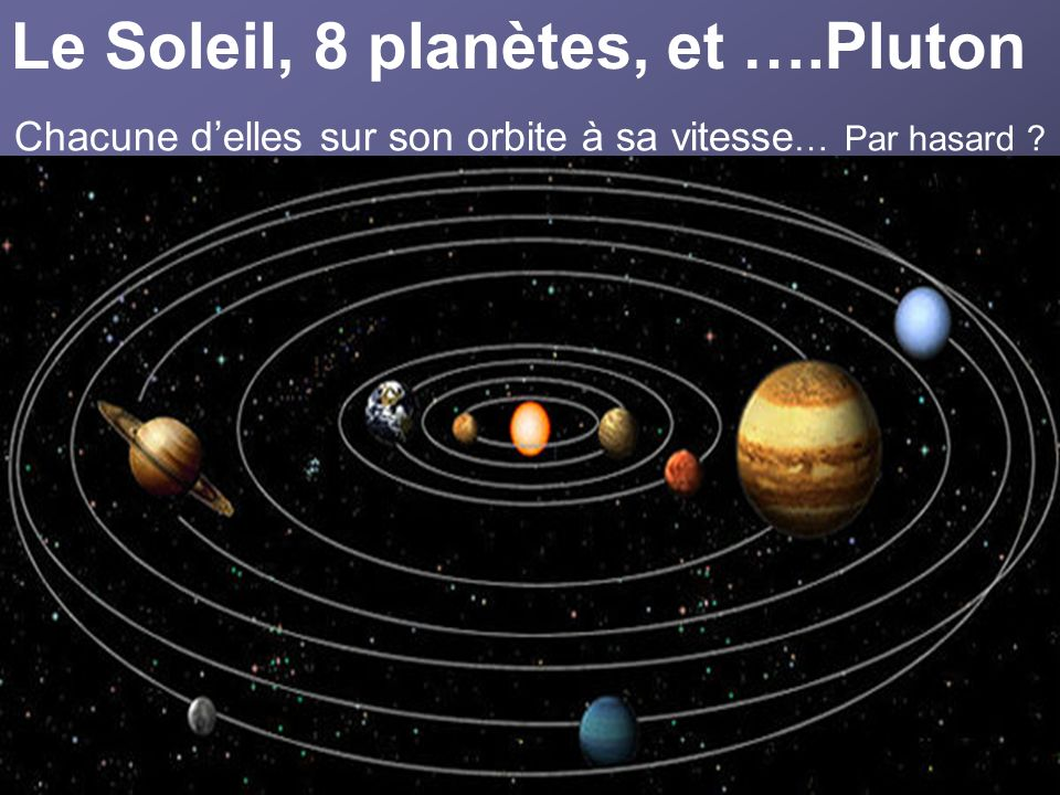 Le Soleil, 8 planètes, et ….Pluton Chacune delles sur son orbite à sa vitesse … Par hasard ?