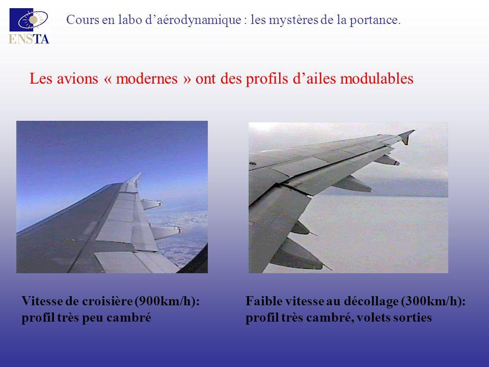 Cours en labo daérodynamique : les mystères de la portance. Les avions « modernes » ont des profils dailes modulables Vitesse de croisière (900km/h):