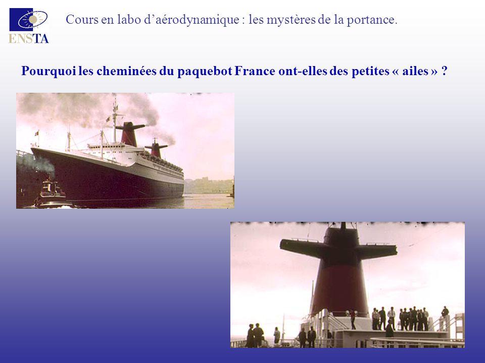 Cours en labo daérodynamique : les mystères de la portance. Pourquoi les cheminées du paquebot France ont-elles des petites « ailes » ?
