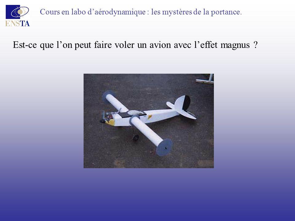 Cours en labo daérodynamique : les mystères de la portance. Est-ce que lon peut faire voler un avion avec leffet magnus ?