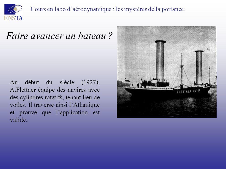 Cours en labo daérodynamique : les mystères de la portance. Faire avancer un bateau ? Au début du siècle (1927), A.Flettner équipe des navires avec de