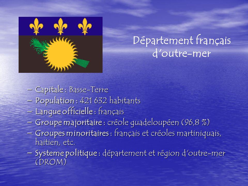 – Capitale : Basse-Terre – Capitale : Basse-Terre – Population : 421 632 habitants – Langue officielle : français – Langue officielle : français – Groupe majoritaire : créole guadeloupéen (96,8 %) – Groupe majoritaire : créole guadeloupéen (96,8 %) – Groupes minoritaires : français et créoles martiniquais, haitien, etc.