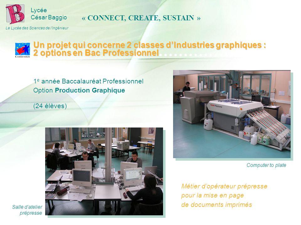 Lycée César Baggio Le Lycée des Sciences de lIngénieur 1 e année Baccalauréat Professionnel Option Production Graphique (24 élèves) Computer to plate