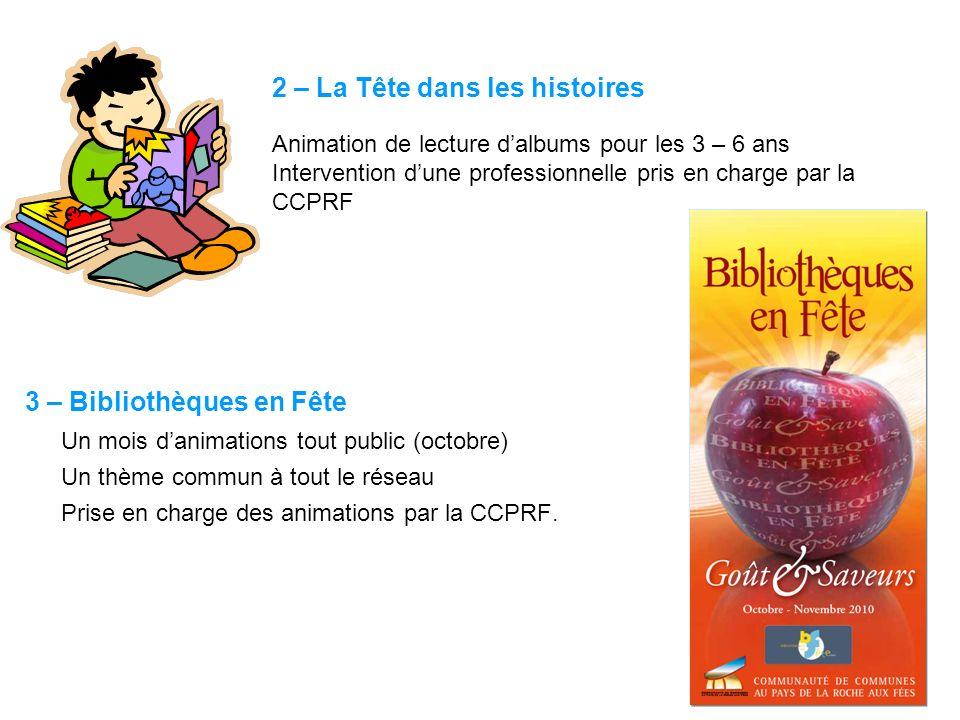 2 – La Tête dans les histoires Animation de lecture dalbums pour les 3 – 6 ans Intervention dune professionnelle pris en charge par la CCPRF 3 – Bibli