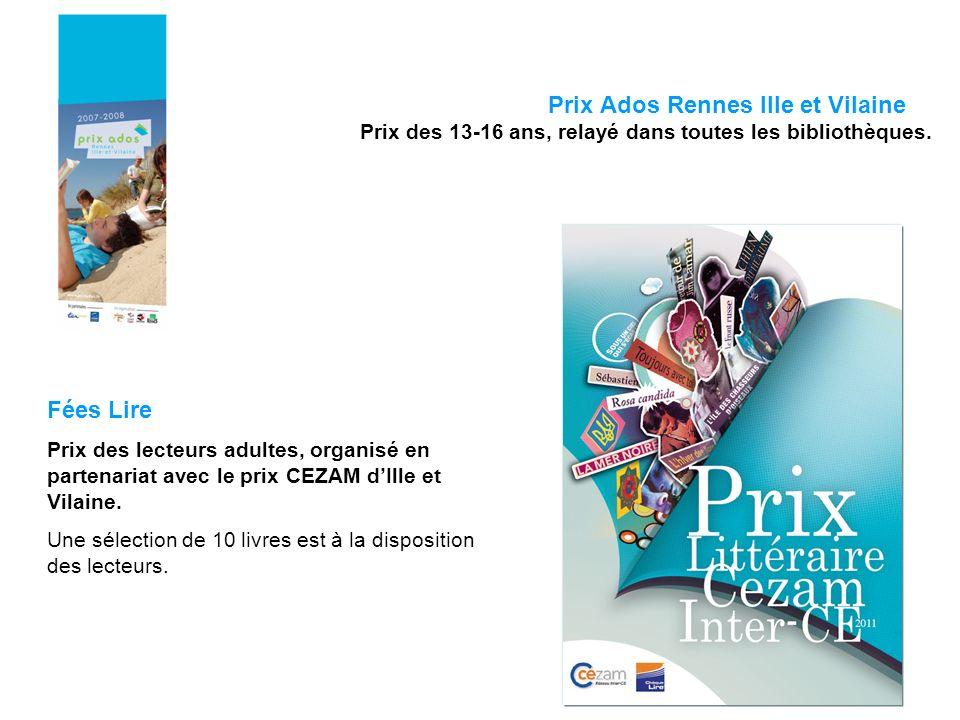 Prix Ados Rennes Ille et Vilaine Prix des 13-16 ans, relayé dans toutes les bibliothèques. Fées Lire Prix des lecteurs adultes, organisé en partenaria