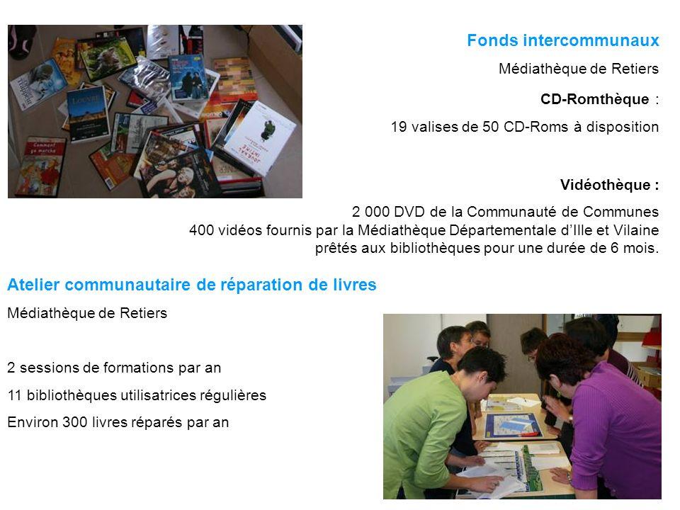 Fonds intercommunaux Médiathèque de Retiers CD-Romthèque : 19 valises de 50 CD-Roms à disposition Vidéothèque : 2 000 DVD de la Communauté de Communes