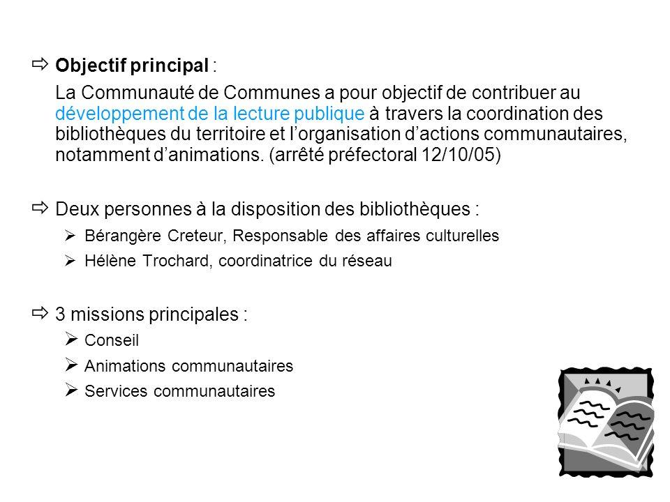Objectif principal : La Communauté de Communes a pour objectif de contribuer au développement de la lecture publique à travers la coordination des bib