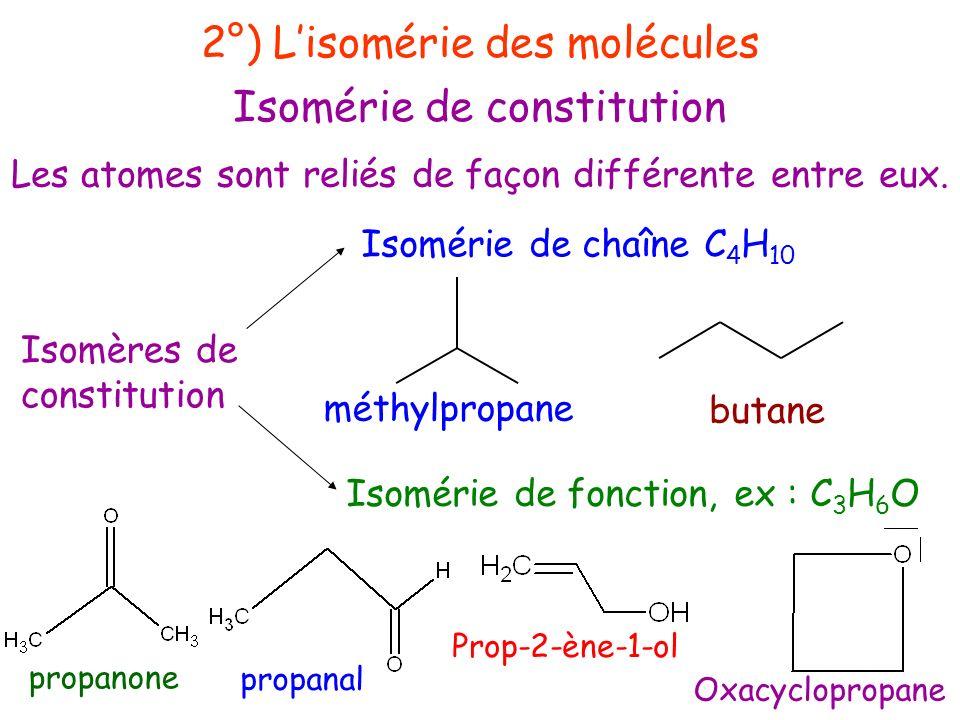 Les atomes sont reliés de façon différente entre eux. 2°) Lisomérie des molécules Isomérie de constitution Isomères de constitution Isomérie de foncti