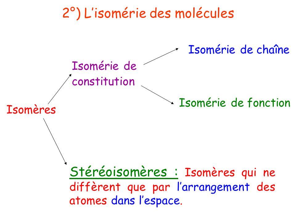 2°) Lisomérie des molécules Isomères Stéréoisomères : Isomères qui ne diffèrent que par larrangement des atomes dans lespace. Isomérie de constitution