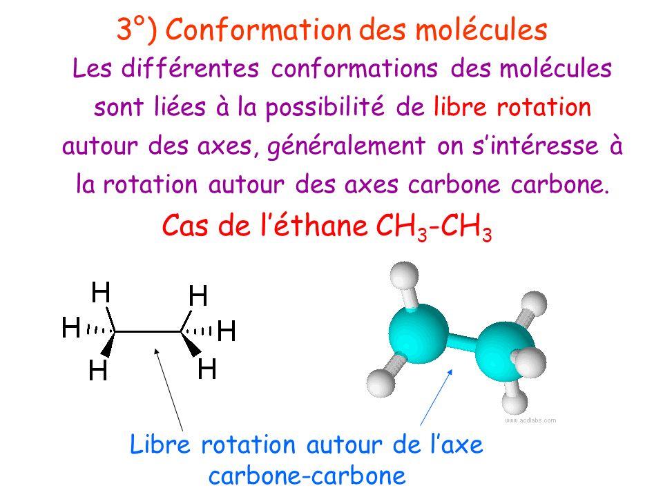 3°) Conformation des molécules Les différentes conformations des molécules sont liées à la possibilité de libre rotation autour des axes, généralement