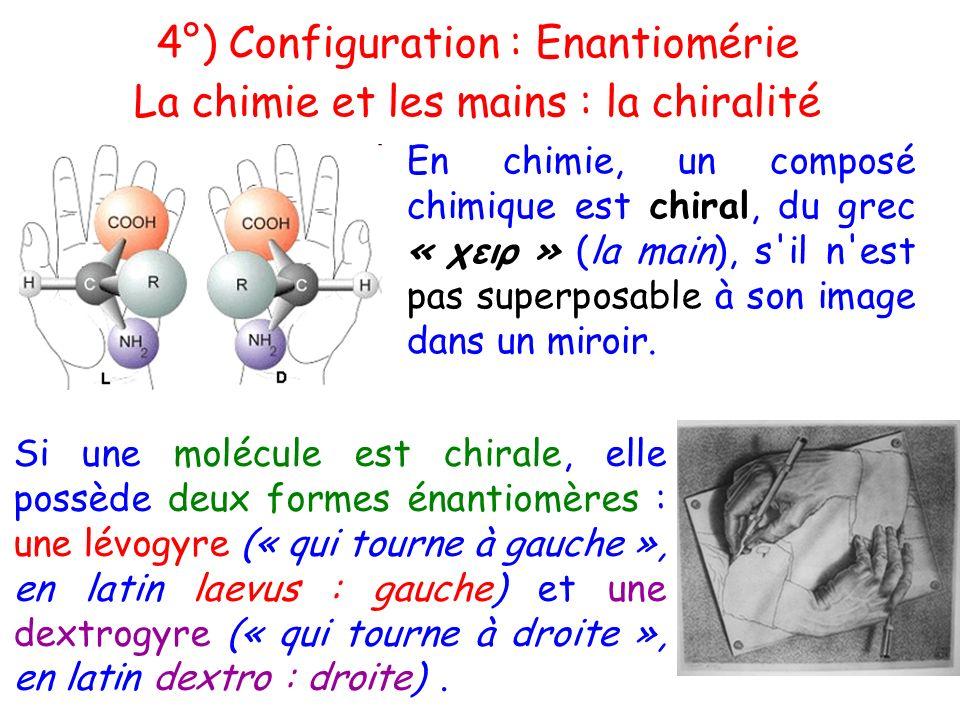 Si une molécule est chirale, elle possède deux formes énantiomères : une lévogyre (« qui tourne à gauche », en latin laevus : gauche) et une dextrogyr