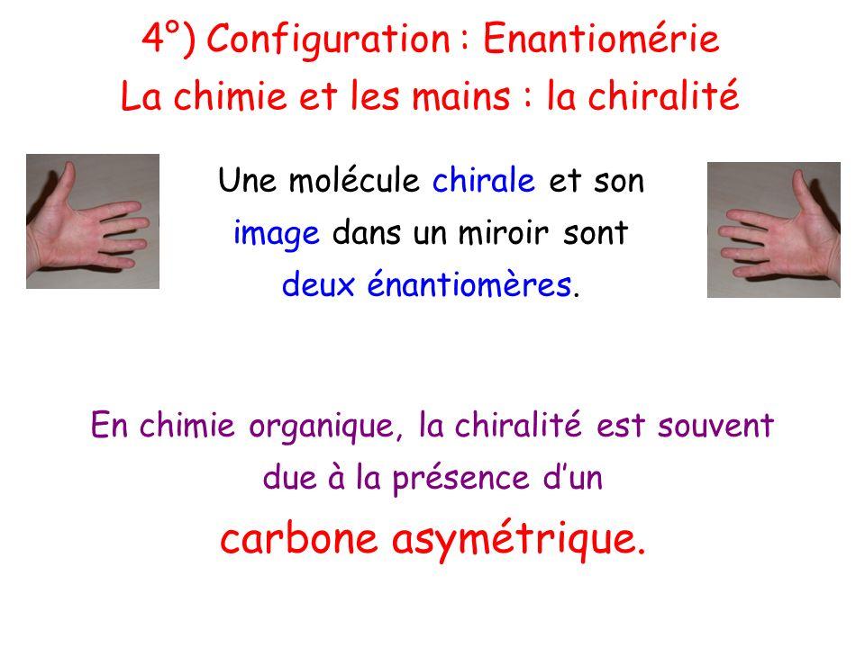 4°) Configuration : Enantiomérie La chimie et les mains : la chiralité Une molécule chirale et son image dans un miroir sont deux énantiomères. En chi