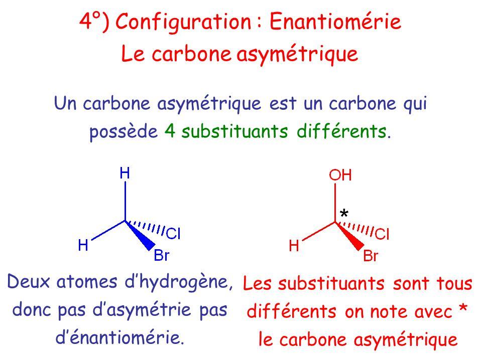 Un carbone asymétrique est un carbone qui possède 4 substituants différents. Deux atomes dhydrogène, donc pas dasymétrie pas dénantiomérie. Les substi