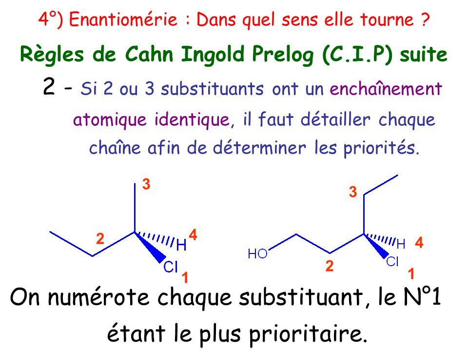 2 - Si 2 ou 3 substituants ont un enchaînement atomique identique, il faut détailler chaque chaîne afin de déterminer les priorités. 2 3 1 4 2 3 1 4 4