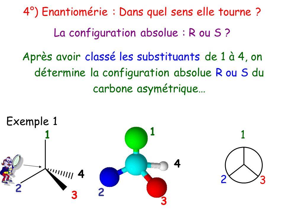 Après avoir classé les substituants de 1 à 4, on détermine la configuration absolue R ou S du carbone asymétrique… 1 4 3 2 1 2 3 1 4 3 2 La configurat