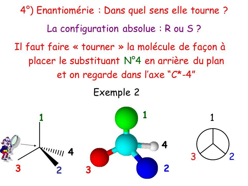 1 4 2 Il faut faire « tourner » la molécule de façon à placer le substituant N°4 en arrière du plan et on regarde dans laxe C*-4 1 32 1 4 3 2 La confi